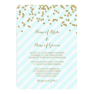 Gold Confetti Sky Blue Stripes Wedding Invitations