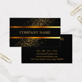 Gold Confetti Speckles and Black Business Card
