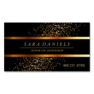 Gold Confetti Speckles and Black Magnetic Business Cards