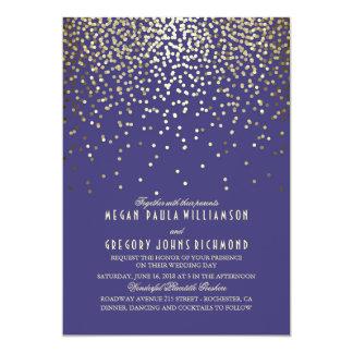 Gold Confetti - Starry Lights Navy Wedding Card