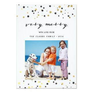 Gold Confetti Stars   Holiday Photo Card 13 Cm X 18 Cm Invitation Card