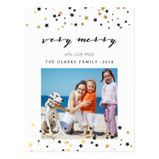Gold Confetti Stars | Holiday Photo Postcard