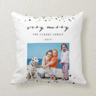 Gold Confetti Stars | Holiday Photo Throw Pillow
