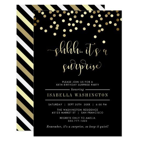 Gold Confetti Surprise Birthday Party Invitation