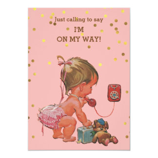 Gold Confetti Vintage Baby on Phone Baby Shower Card