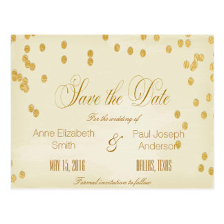 Gold confetti vintage Save the Date Postcard