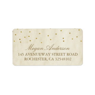 Gold Confetti Vintage Wedding Address Label
