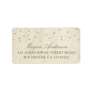 Gold Confetti Vintage Wedding Label