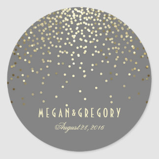 Gold Confetti Wedding Classic Round Sticker