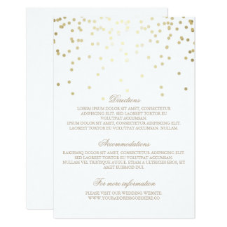 Gold Confetti Wedding Details - Information Card