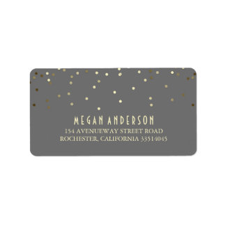 Gold Confetti Wedding Label