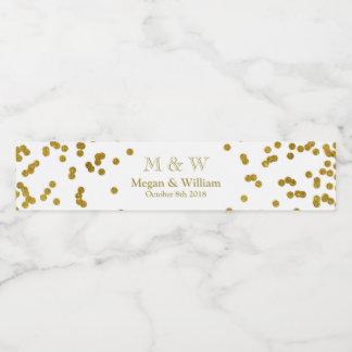 Gold Confetti Wedding Monogram Water Bottle Label