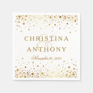 Gold Confetti Wedding Personalized Napkin Paper Napkin