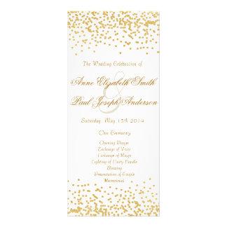 Gold confetti wedding program rack card design