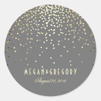 Gold Confetti Wedding Round Sticker