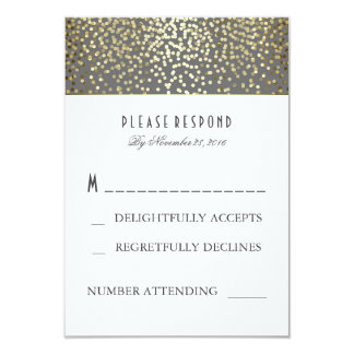Gold Confetti Wedding RSVP Cards 9 Cm X 13 Cm Invitation Card