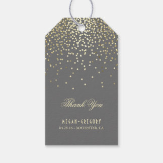 Gold Confetti Wedding Thank You Gift Tags