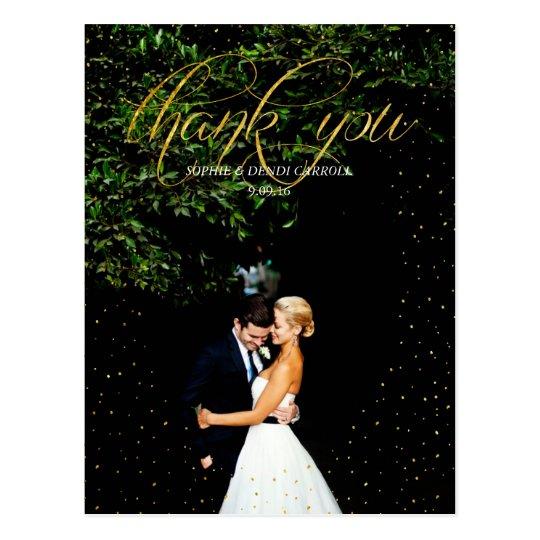 Gold Confetti Wedding Thank You Postcard