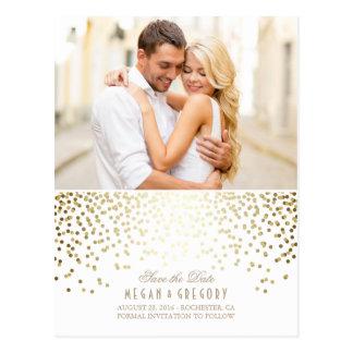 Gold Confetti White Elegant Photo Save the Date Postcard