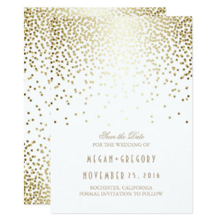 Gold Confetti White Elegant Save the Date Card