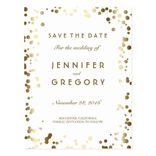 Gold Confetti White Elegant Save the Date Postcard