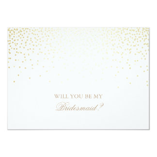 Gold Confetti White Wedding Bridesmaid Invitation