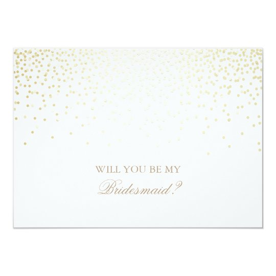 Gold Confetti White Wedding Bridesmaid Invitation