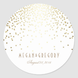 Gold Confetti White Wedding Round Sticker