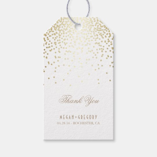 Wedding Thank You Gift Tags: Gold Confetti White Wedding Thank You Gift Tags
