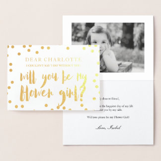 Gold Confetti Will You Be My Flower Girl Photo Foil Card