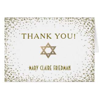 Gold Confetti with Star of David Thank You Card
