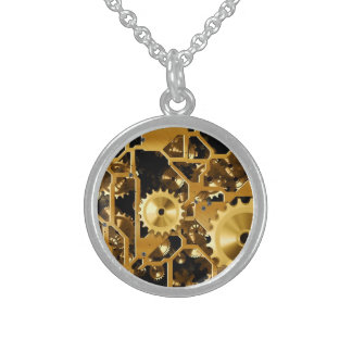 Gold Copper and Brown Cogs, Gears Round Pendant Necklace