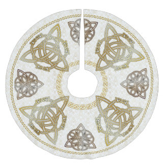 Gold & Copper Celtic Knots & Tri-Quatras on Damask Brushed Polyester Tree Skirt