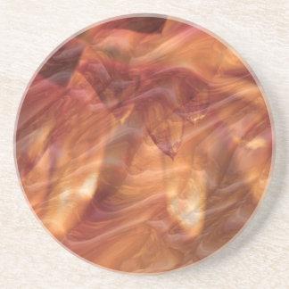 Gold Copper Diamond Rose Flower Drink Coaster