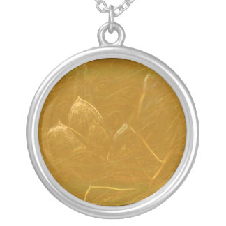 Gold Copper Embossed Waves Lotus Leaf Round Pendant Necklace