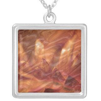 Gold Copper Embossed Waves Lotus Leaf Square Pendant Necklace