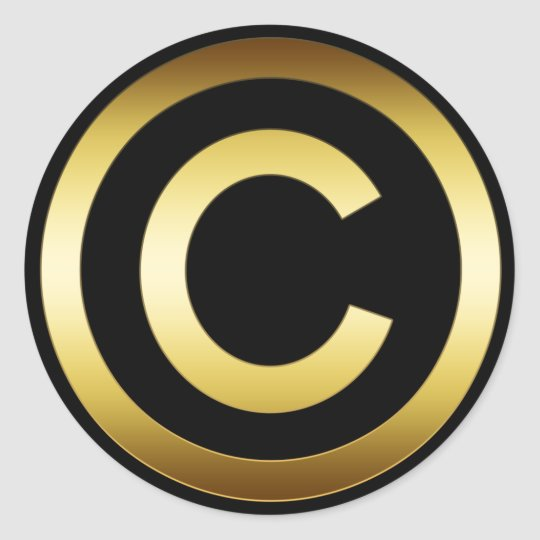 GOLD COPYRIGHT SYMBOL CLASSIC ROUND STICKER