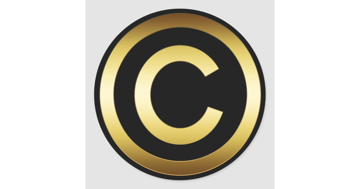 Gold Copyright Symbol Classic Round Sticker Zazzle