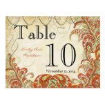 Gold Coral & Lime Paisley Wedding Table Number