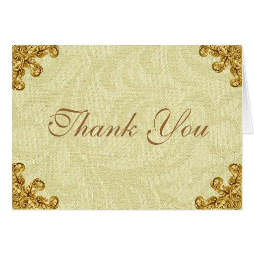 Gold Corner Flourish Thank You Card