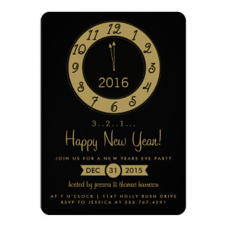 Gold Countdown To Midnight New Years Eve Party 13 Cm X 18 Cm Invitation Card