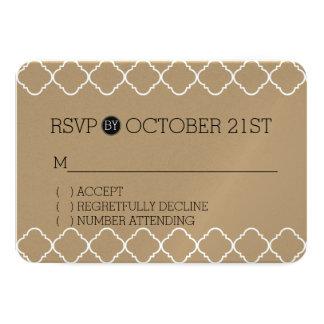 Gold Cream and White Quatrefoil RSVP 9 Cm X 13 Cm Invitation Card