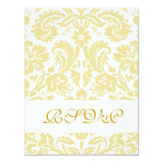 Gold Cream Floral Damask Wedding RSVP Cards 11 Cm X 14 Cm Invitation Card