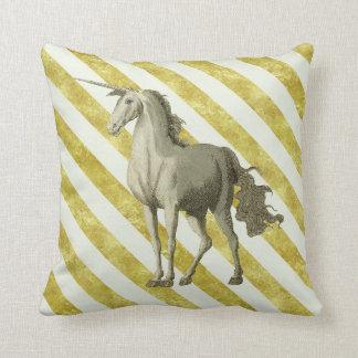 Gold & Cream Striped Vintage Unicorn Cushion