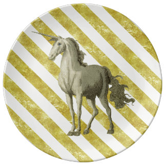 Gold & Cream Striped Vintage Unicorn Plate