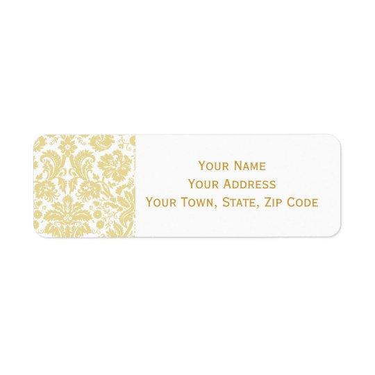 Gold Cream Vintage Damask Address Labels