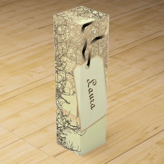 Gold / Cream winter trees design Wine Gift Box