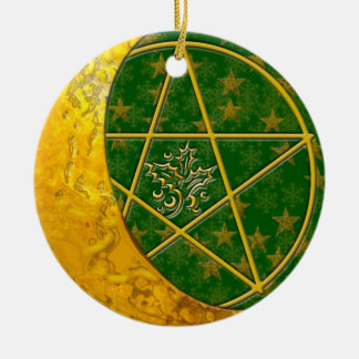 Gold Crescent Moon & Pentacle #5 Christmas Ornament