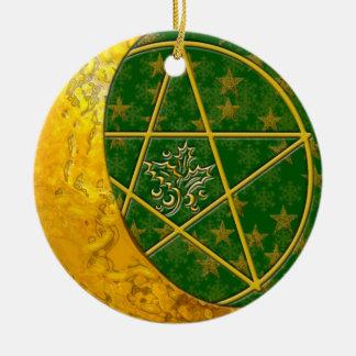 Gold Crescent Moon & Pentacle #5 Round Ceramic Decoration