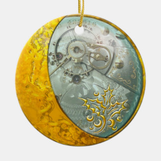 Gold Crescent Moon & Steampunk #1 Round Ceramic Decoration
